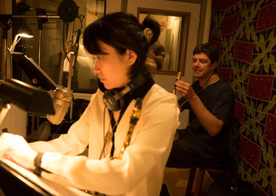 Yoosun Nam and Chris Cheek in the studio